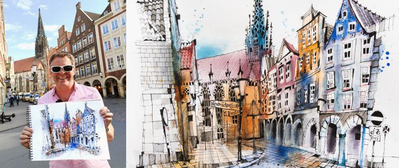 Sketching a German Fairytale Village. Live.
